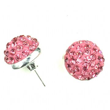 10mm Pave crystal stud earrings - pink crystals - silver